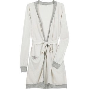 James Perse Robe Cardigan with Jersey Trim